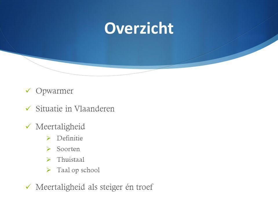 Opwarmer Situatie in Vlaanderen Meertaligheid  Definitie  Soorten  Thuistaal  Taal op school Meertaligheid als steiger én troef Overzicht