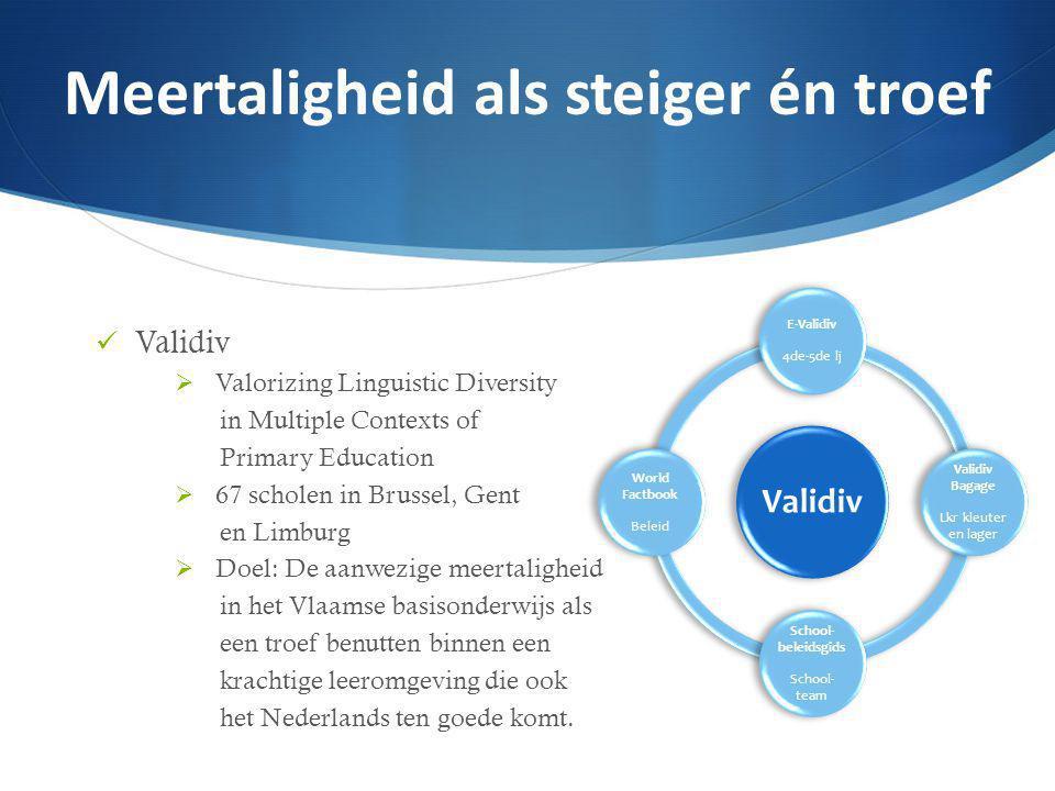 Validiv  Valorizing Linguistic Diversity in Multiple Contexts of Primary Education  67 scholen in Brussel, Gent en Limburg  Doel: De aanwezige meertaligheid in het Vlaamse basisonderwijs als een troef benutten binnen een krachtige leeromgeving die ook het Nederlands ten goede komt.