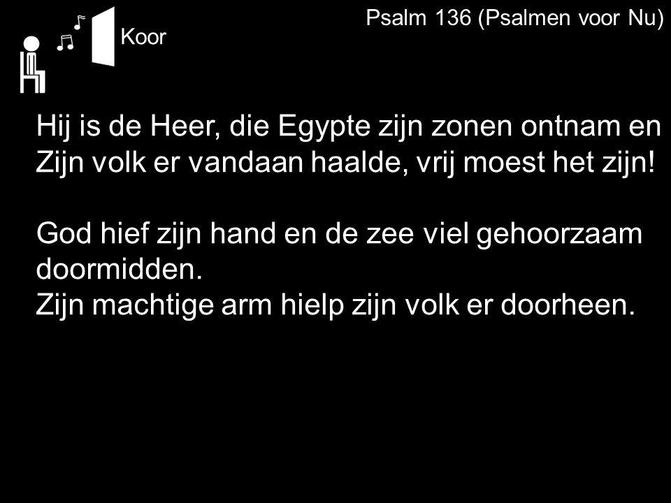 Psalm 136 (Psalmen voor Nu) Koor Hij is de Heer, die Egypte zijn zonen ontnam en Zijn volk er vandaan haalde, vrij moest het zijn! God hief zijn hand