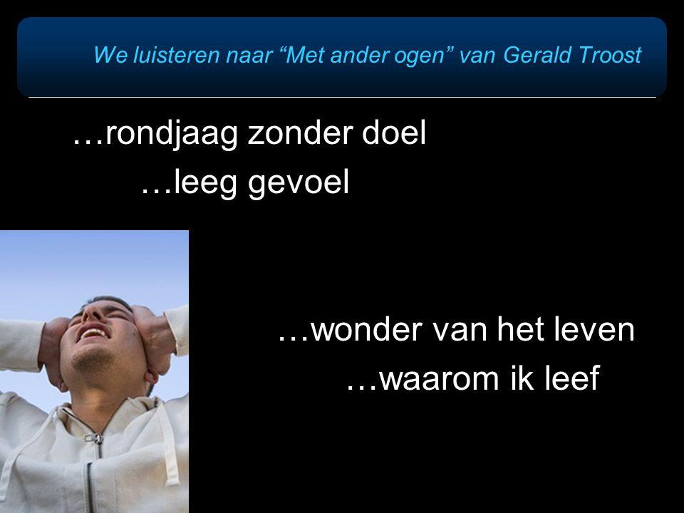 """We luisteren naar """"Met ander ogen"""" van Gerald Troost …rondjaag zonder doel …leeg gevoel …wonder van het leven …waarom ik leef"""