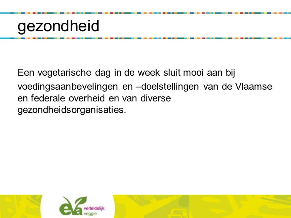 gezondheid Een vegetarische dag in de week sluit mooi aan bij voedingsaanbevelingen en –doelstellingen van de Vlaamse en federale overheid en van dive