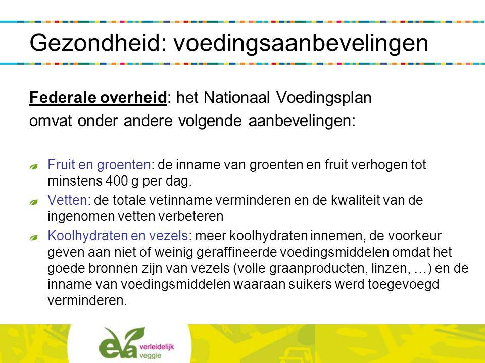 Federale overheid: het Nationaal Voedingsplan omvat onder andere volgende aanbevelingen: Fruit en groenten: de inname van groenten en fruit verhogen t