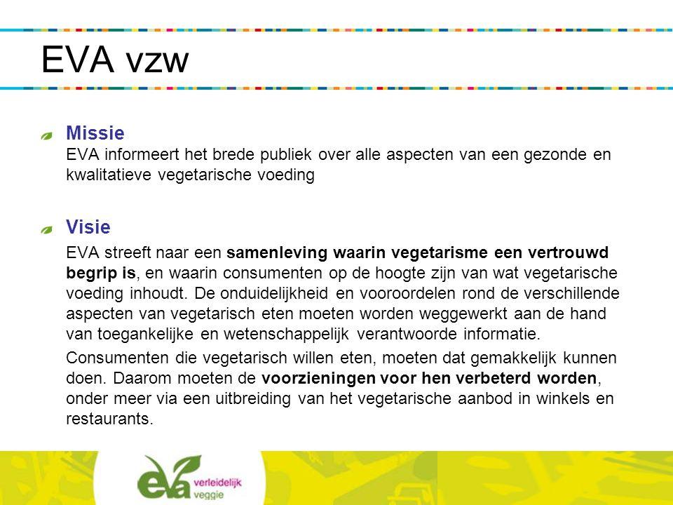 EVA vzw opgericht in 2000 2200 leden sinds 2005 gesubsidieerd door de Vlaamse overheid (sociaal-cultureel volwassenenwerk – 'beweging') Kantoor/Vegetarisch Infocentrum te Gent een paar betaalde krachten en veel vrijwilligers