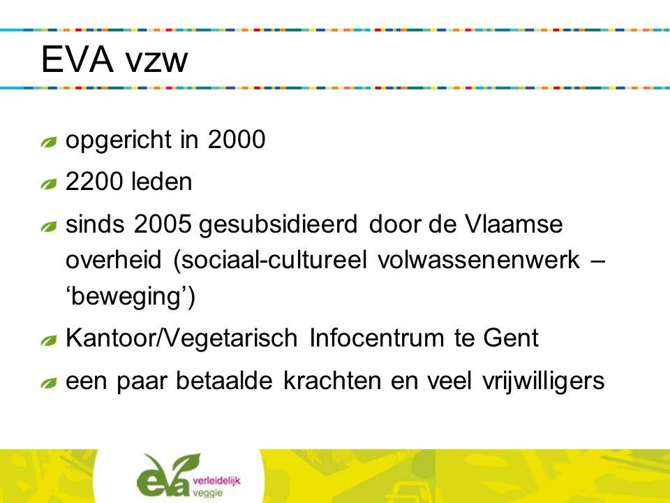 werkwijze EVA informeert via: website op www.vegetarisme.be EVA Magazine: ledenblad gratis publicaties (flyers, vegetarische gidsen) activiteiten: workshops, lezingen, beurzen, studiedagen, diners, campagnes en projecten...