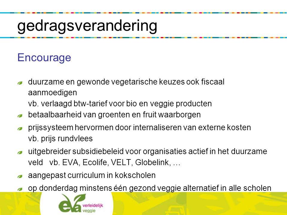 gedragsverandering Encourage duurzame en gewonde vegetarische keuzes ook fiscaal aanmoedigen vb. verlaagd btw-tarief voor bio en veggie producten beta