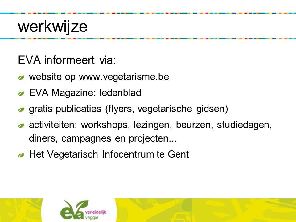 werkwijze EVA informeert via: website op www.vegetarisme.be EVA Magazine: ledenblad gratis publicaties (flyers, vegetarische gidsen) activiteiten: wor