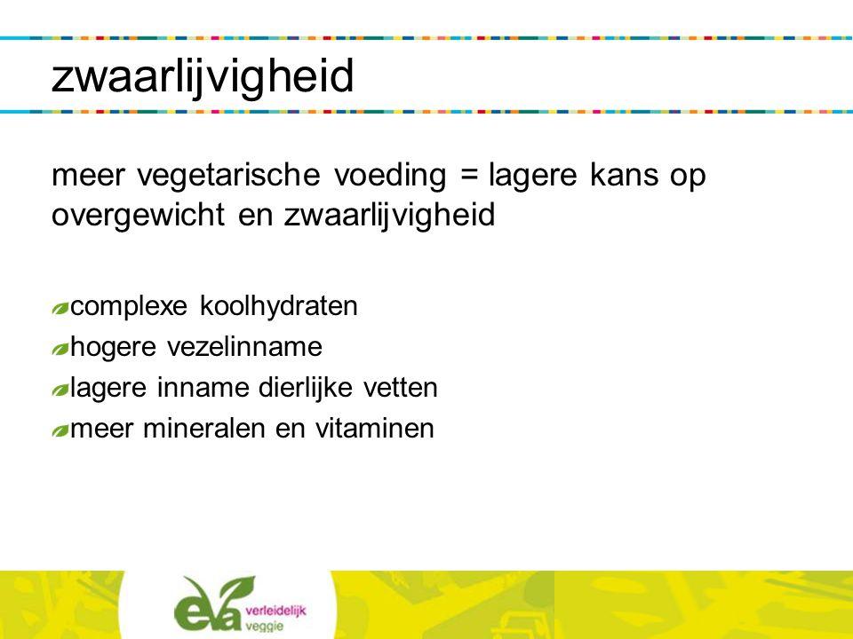 zwaarlijvigheid meer vegetarische voeding = lagere kans op overgewicht en zwaarlijvigheid complexe koolhydraten hogere vezelinname lagere inname dierl