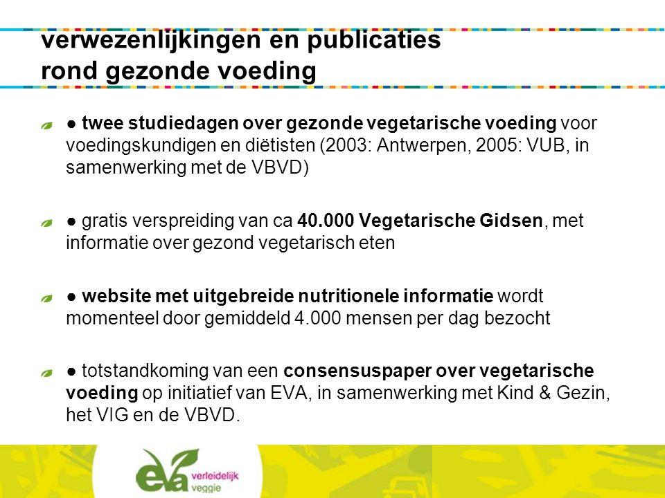 verwezenlijkingen en publicaties rond gezonde voeding ● twee studiedagen over gezonde vegetarische voeding voor voedingskundigen en diëtisten (2003: A