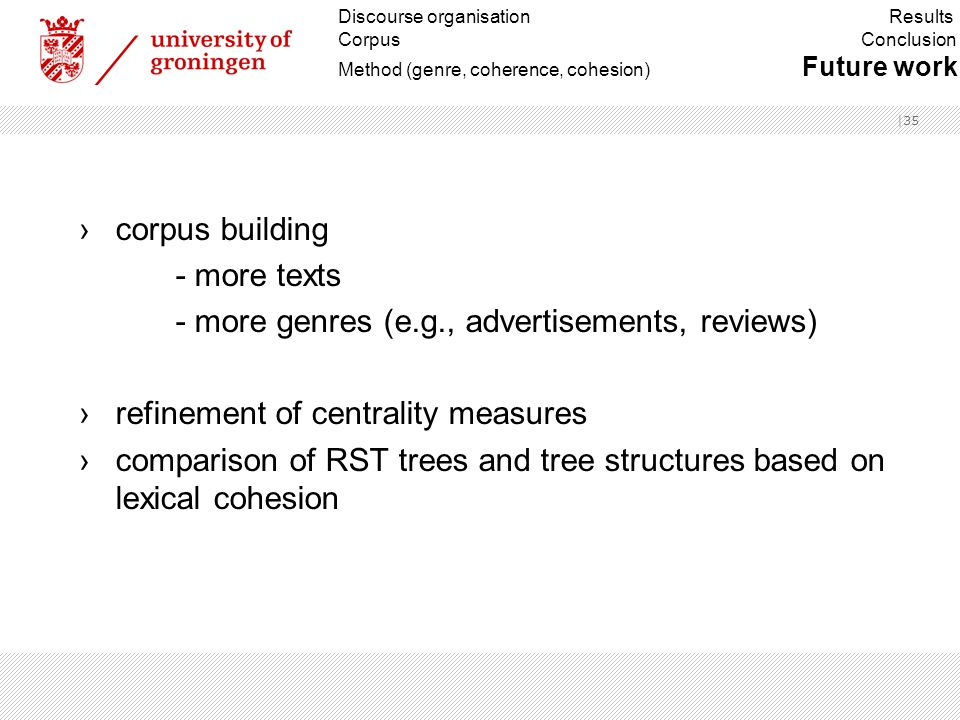 |35 ›corpus building - more texts - more genres (e.g., advertisements, reviews) ›refinement of centrality measures ›comparison of RST trees and tree structures based on lexical cohesion Discourse organisation Results Corpus Conclusion Method (genre, coherence, cohesion) Future work