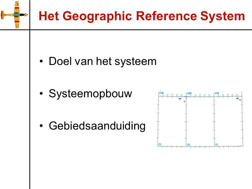 Het Geographic Reference System Doel van het systeem Systeemopbouw Gebiedsaanduiding