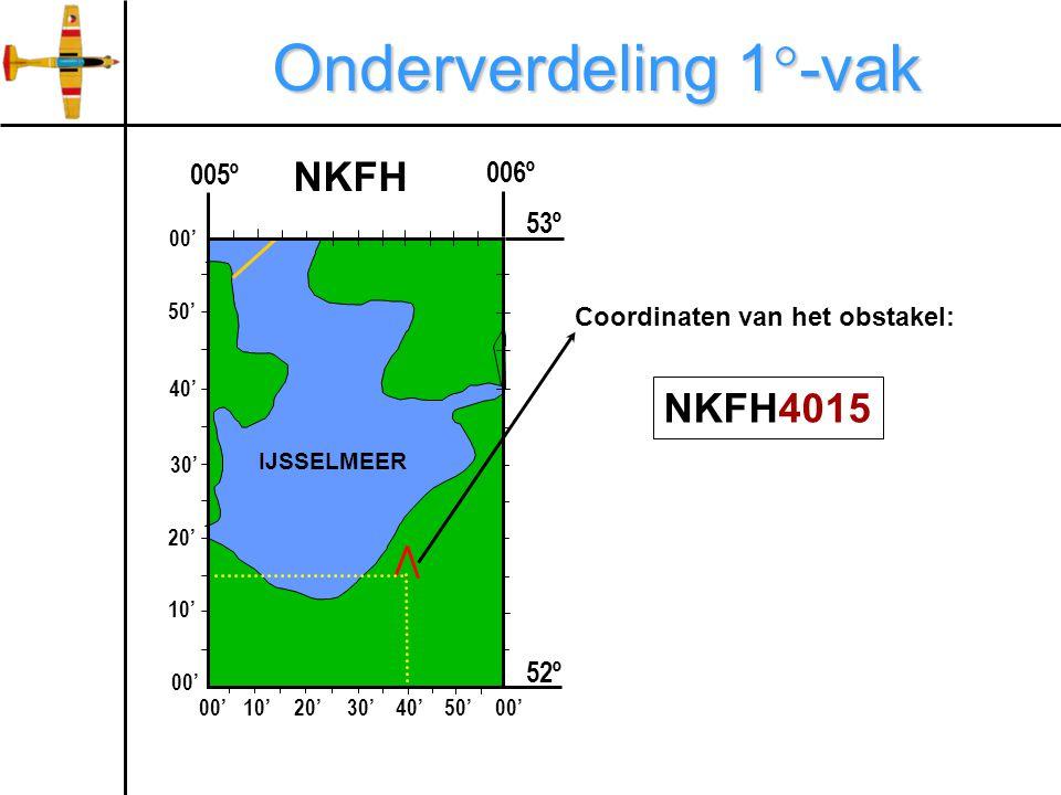 Onderverdeling 1  -vak 006º 005º 52º NKFH 00'10'20'30'40'50'00' 10' 20' 30' 40' 50' 00' 53º IJSSELMEER NKFH4015 Coordinaten van het obstakel:
