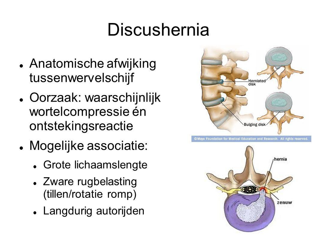 Discushernia Anatomische afwijking tussenwervelschijf Oorzaak: waarschijnlijk wortelcompressie én ontstekingsreactie Mogelijke associatie: Grote lichaamslengte Zware rugbelasting (tillen/rotatie romp) Langdurig autorijden