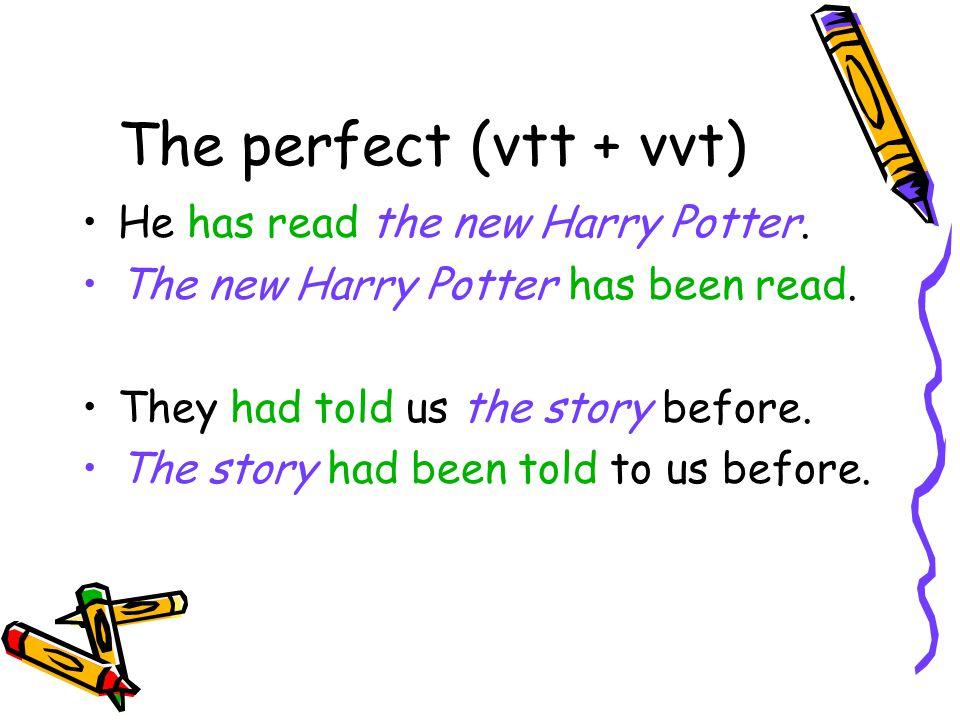 De mogelijkheden van the perfect has have + been + volt. dw. had + been + volt. dw.
