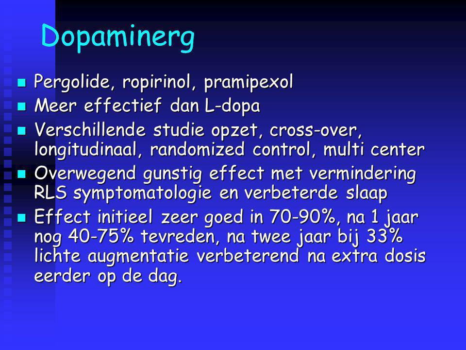 Dopaminerg Pergolide, ropirinol, pramipexol Pergolide, ropirinol, pramipexol Meer effectief dan L-dopa Meer effectief dan L-dopa Verschillende studie