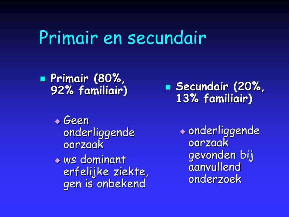 Primair en secundair Primair (80%, 92% familiair) Primair (80%, 92% familiair)  Geen onderliggende oorzaak  ws dominant erfelijke ziekte, gen is onb