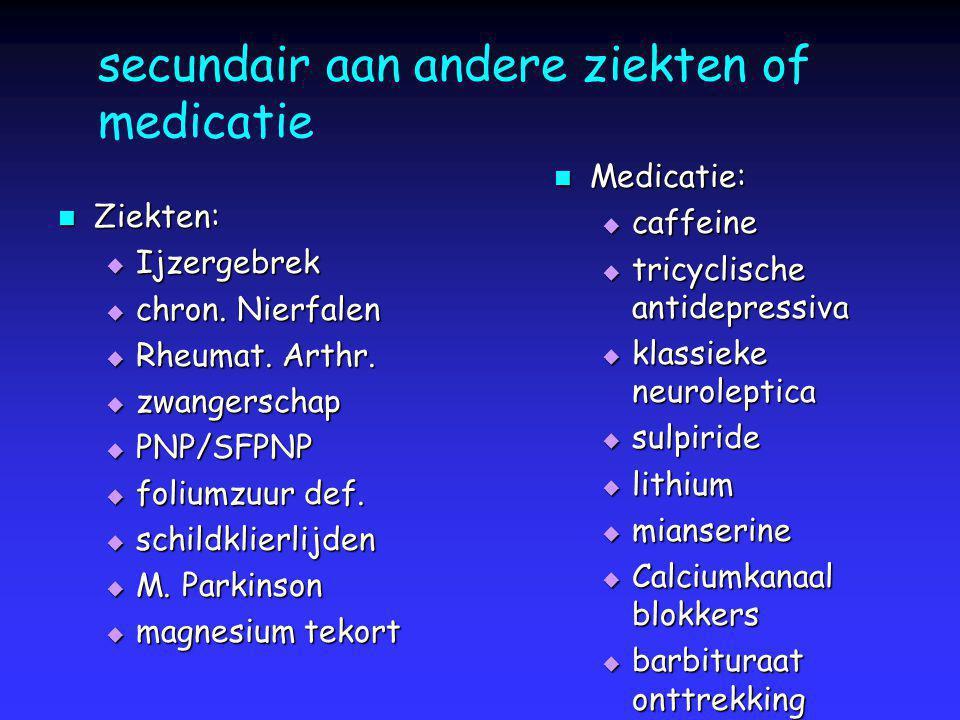 secundair aan andere ziekten of medicatie Ziekten: Ziekten:  Ijzergebrek  chron. Nierfalen  Rheumat. Arthr.  zwangerschap  PNP/SFPNP  foliumzuur