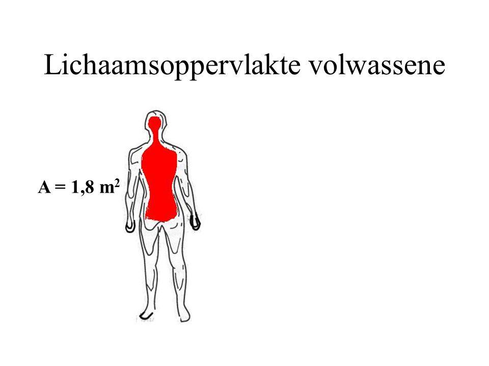 Lichaamsoppervlakte volwassene A = 1,8 m 2