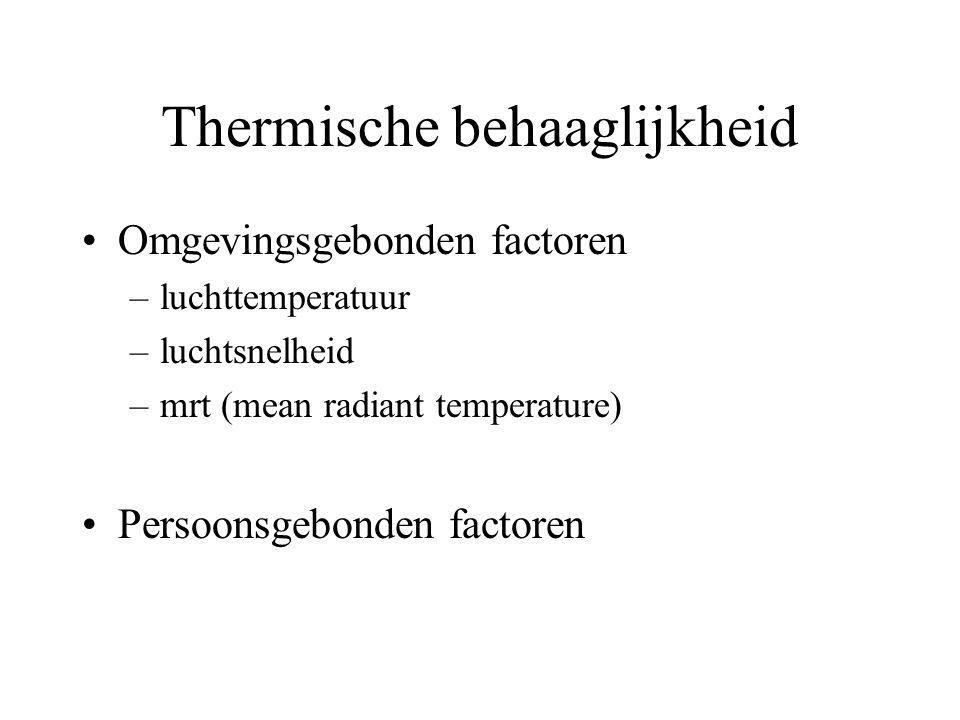 Thermische behaaglijkheid Omgevingsgebonden factoren –luchttemperatuur –luchtsnelheid –mrt (mean radiant temperature) Persoonsgebonden factoren