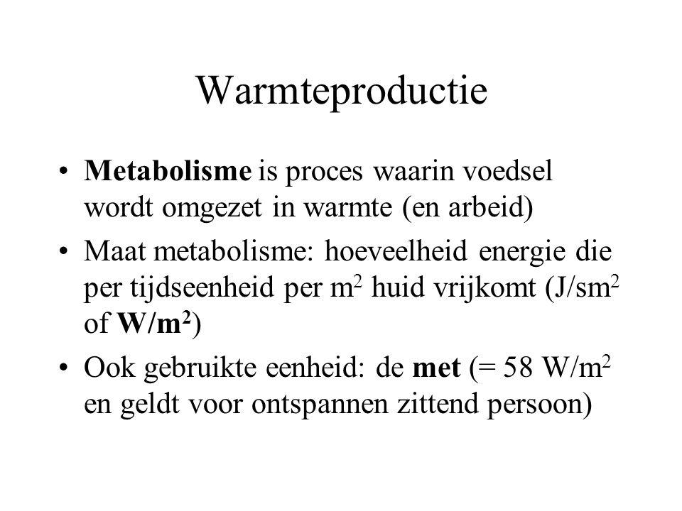 Warmteproductie Metabolisme is proces waarin voedsel wordt omgezet in warmte (en arbeid) Maat metabolisme: hoeveelheid energie die per tijdseenheid per m 2 huid vrijkomt (J/sm 2 of W/m 2 ) Ook gebruikte eenheid: de met (= 58 W/m 2 en geldt voor ontspannen zittend persoon)