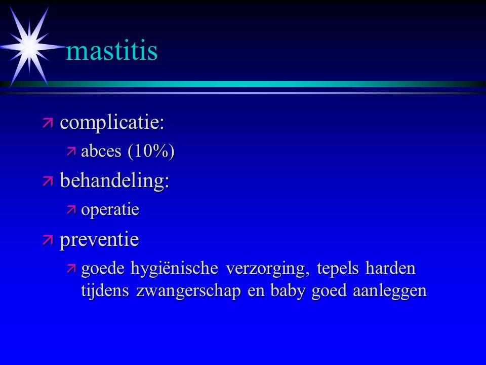 mastitis ä behandeling: ä bedrust ä koude toepassen ä rustig aan doen ä borst ledigen aan de zieke kant ä niet masseren! ä tepelkloven goed verzorgen