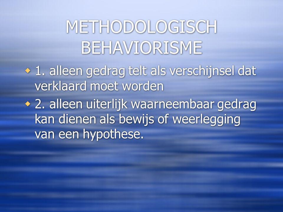METHODOLOGISCH BEHAVIORISME  1.alleen gedrag telt als verschijnsel dat verklaard moet worden  2.