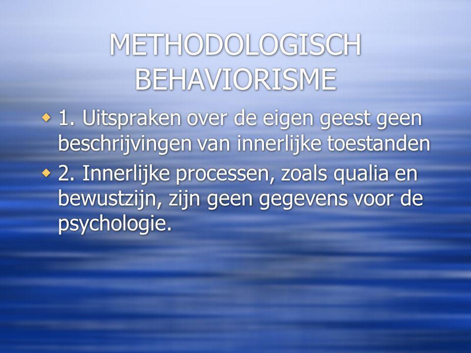 METHODOLOGISCH BEHAVIORISME  1.