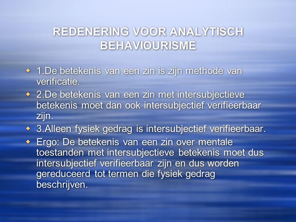 REDENERING VOOR ANALYTISCH BEHAVIOURISME  1.De betekenis van een zin is zijn methode van verificatie.