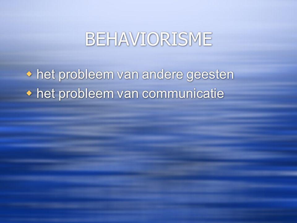 BEHAVIORISME  het probleem van andere geesten  het probleem van communicatie  het probleem van andere geesten  het probleem van communicatie