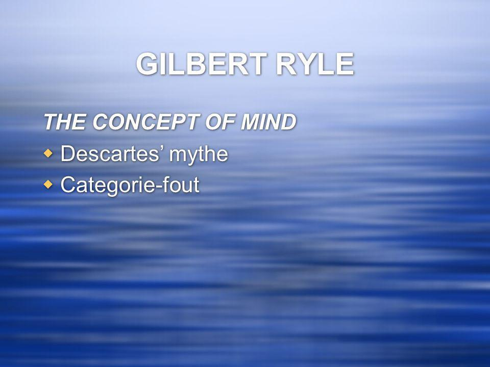 GILBERT RYLE THE CONCEPT OF MIND  Descartes' mythe  Categorie-fout THE CONCEPT OF MIND  Descartes' mythe  Categorie-fout