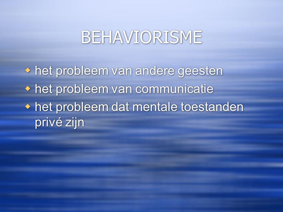 BEHAVIORISME  het probleem van andere geesten  het probleem van communicatie  het probleem dat mentale toestanden privé zijn  het probleem van andere geesten  het probleem van communicatie  het probleem dat mentale toestanden privé zijn