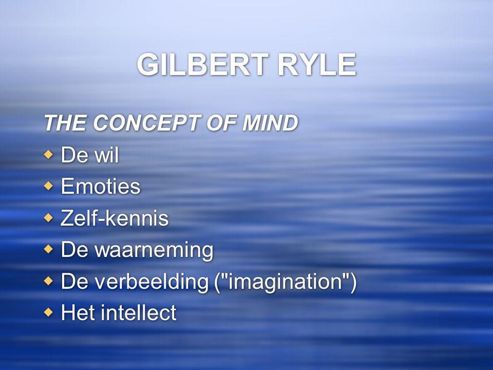 GILBERT RYLE THE CONCEPT OF MIND  De wil  Emoties  Zelf-kennis  De waarneming  De verbeelding ( imagination )  Het intellect THE CONCEPT OF MIND  De wil  Emoties  Zelf-kennis  De waarneming  De verbeelding ( imagination )  Het intellect
