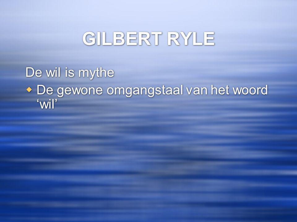 GILBERT RYLE De wil is mythe  De gewone omgangstaal van het woord 'wil' De wil is mythe  De gewone omgangstaal van het woord 'wil'