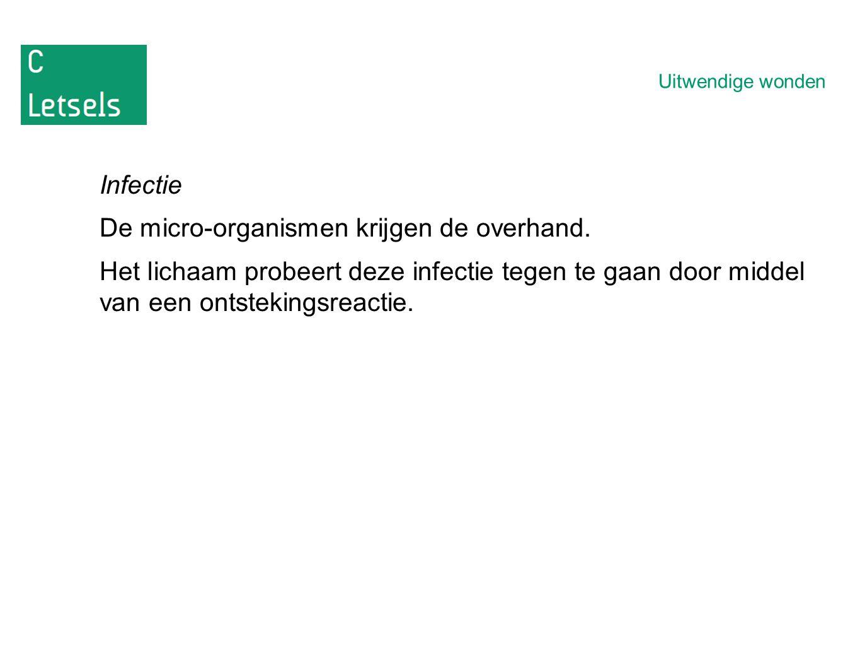 Uitwendige wonden Infectie De micro-organismen krijgen de overhand.