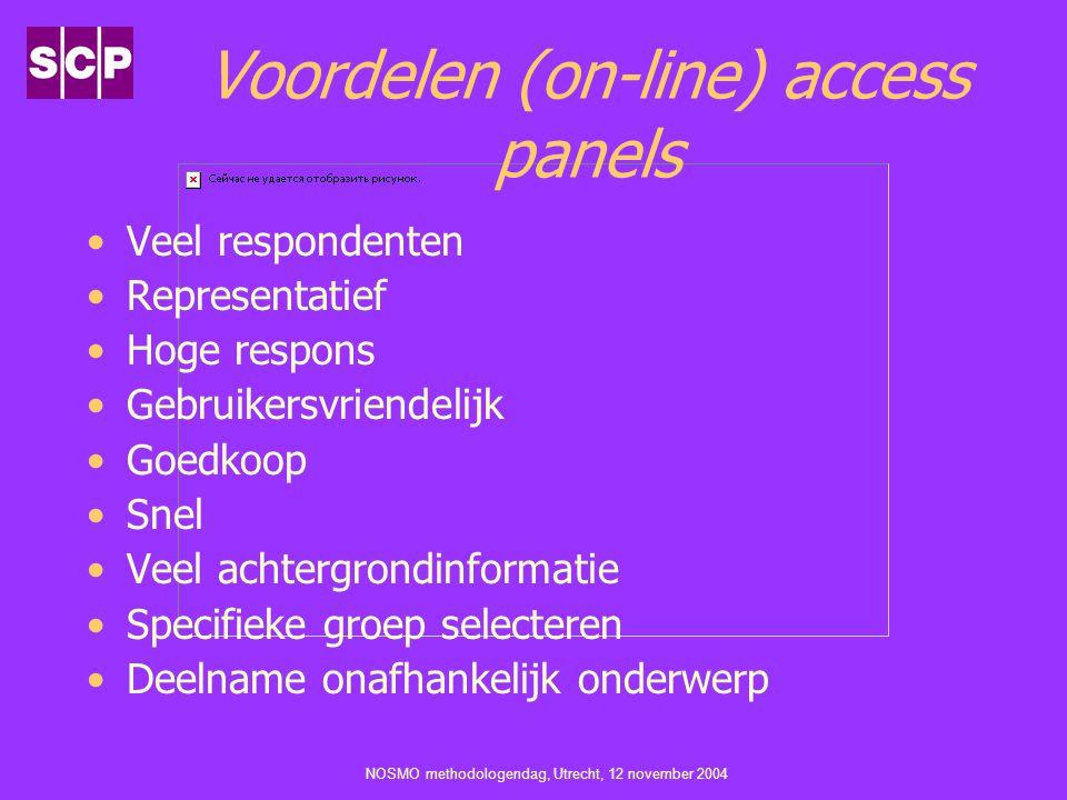 NOSMO methodologendag, Utrecht, 12 november 2004 Voordelen (on-line) access panels Veel respondenten Representatief Hoge respons Gebruikersvriendelijk Goedkoop Snel Veel achtergrondinformatie Specifieke groep selecteren Deelname onafhankelijk onderwerp