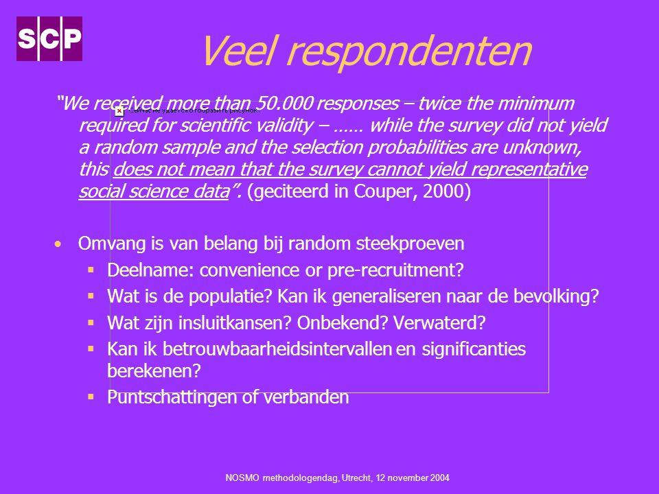 "NOSMO methodologendag, Utrecht, 12 november 2004 Veel respondenten ""We received more than 50.000 responses – twice the minimum required for scientific"