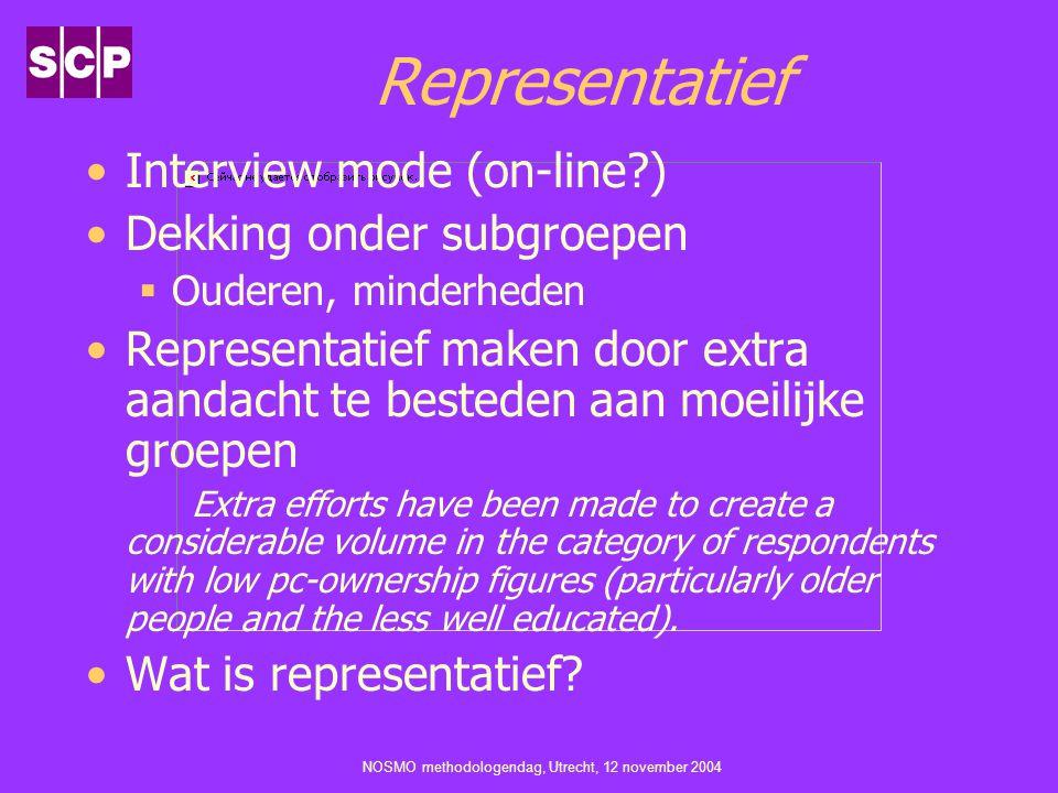 NOSMO methodologendag, Utrecht, 12 november 2004 Representatief Interview mode (on-line?) Dekking onder subgroepen  Ouderen, minderheden Representati