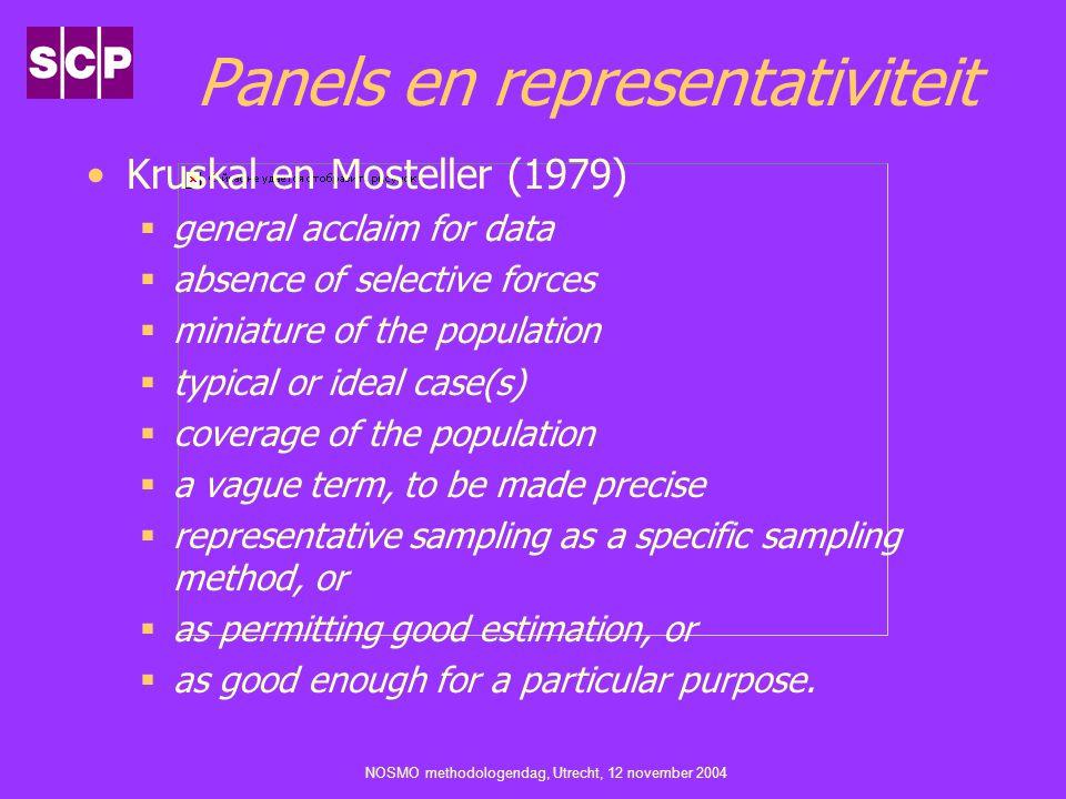 NOSMO methodologendag, Utrecht, 12 november 2004 Panels en representativiteit Kruskal en Mosteller (1979)  general acclaim for data  absence of sele