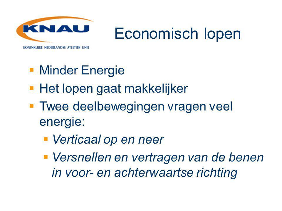 Economisch lopen  Minder Energie  Het lopen gaat makkelijker  Twee deelbewegingen vragen veel energie:  Verticaal op en neer  Versnellen en vertr