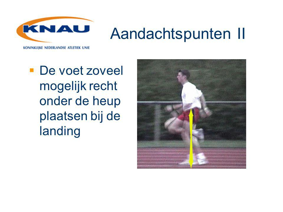 Aandachtspunten II  De voet zoveel mogelijk recht onder de heup plaatsen bij de landing