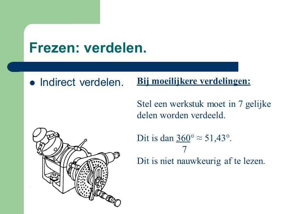 Frezen: verdelen. Indirect verdelen. Bij moeilijkere verdelingen: Stel een werkstuk moet in 7 gelijke delen worden verdeeld. Dit is dan 360° ≈ 51,43°.