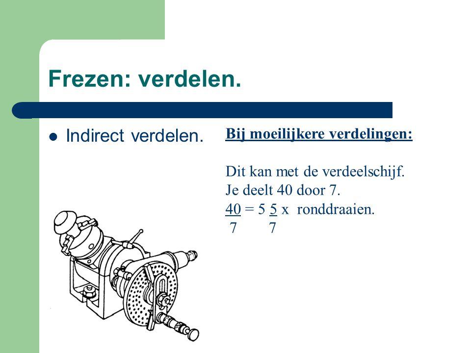 Frezen: verdelen. Indirect verdelen. Bij moeilijkere verdelingen: Dit kan met de verdeelschijf. Je deelt 40 door 7. 40 = 5 5 x ronddraaien. 7 7