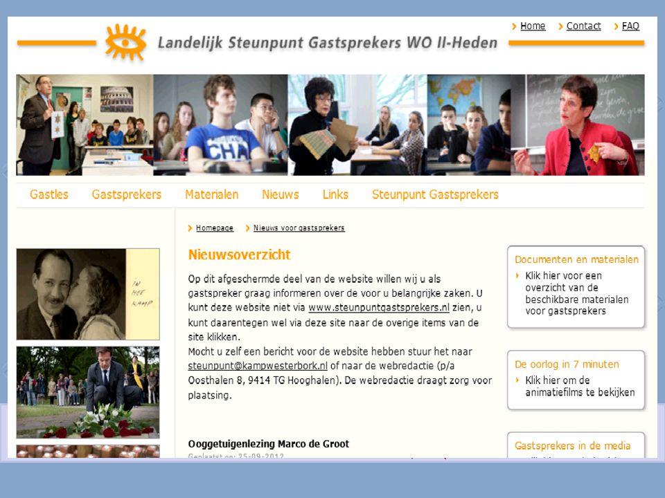 Het Landelijk Steunpunt Gastsprekers WO II-Heden is ondergebracht bij het Herinneringscentrum Kamp Westerbork Number of guest lectures By 211 eyewitnesses 2008: 886 2010: 1125 2012: 1355