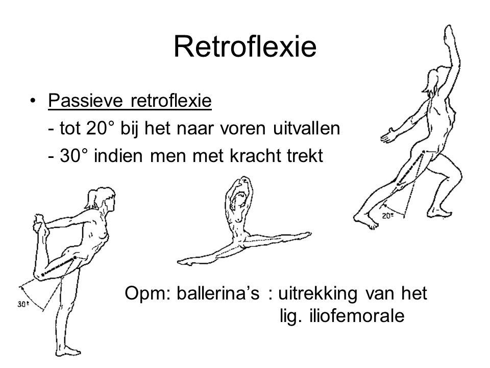 Retroflexie Passieve retroflexie - tot 20° bij het naar voren uitvallen - 30° indien men met kracht trekt Opm: ballerina's : uitrekking van het lig. i