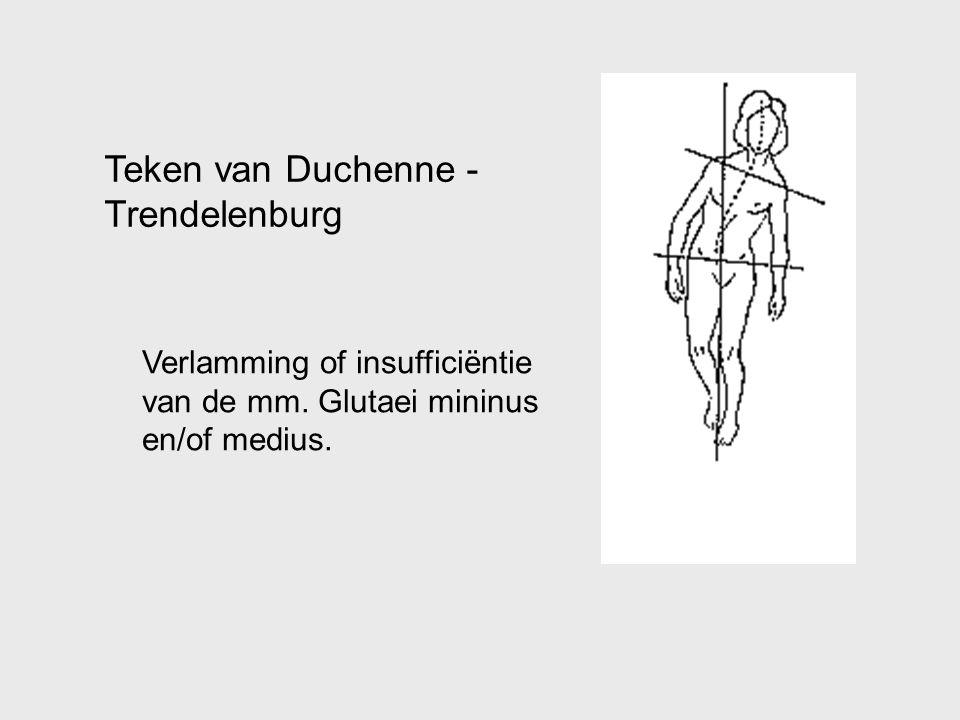 Teken van Duchenne - Trendelenburg Verlamming of insufficiëntie van de mm. Glutaei mininus en/of medius.