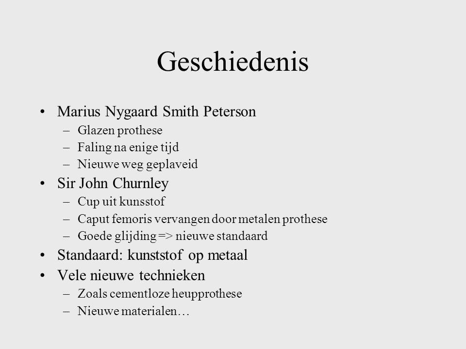 Geschiedenis Marius Nygaard Smith Peterson –Glazen prothese –Faling na enige tijd –Nieuwe weg geplaveid Sir John Churnley –Cup uit kunsstof –Caput fem