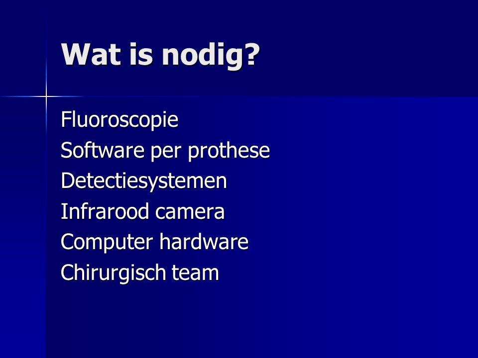 Wat is nodig? Fluoroscopie Software per prothese Detectiesystemen Infrarood camera Computer hardware Chirurgisch team