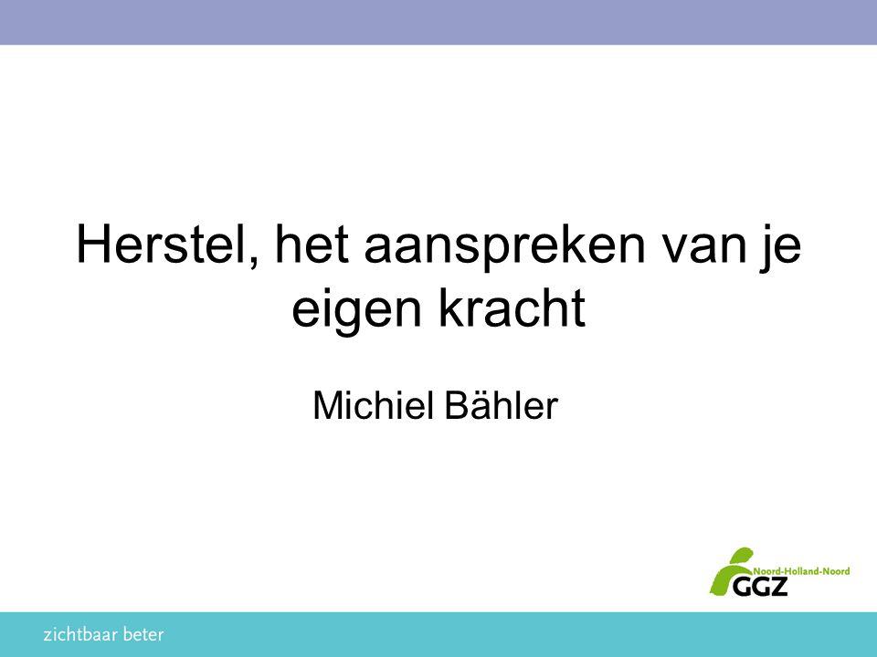 Herstel, het aanspreken van je eigen kracht Michiel Bähler