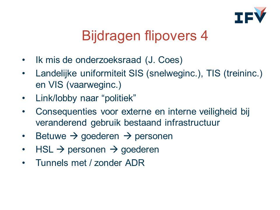 Bijdragen flipovers 4 Ik mis de onderzoeksraad (J. Coes) Landelijke uniformiteit SIS (snelweginc.), TIS (treininc.) en VIS (vaarweginc.) Link/lobby na