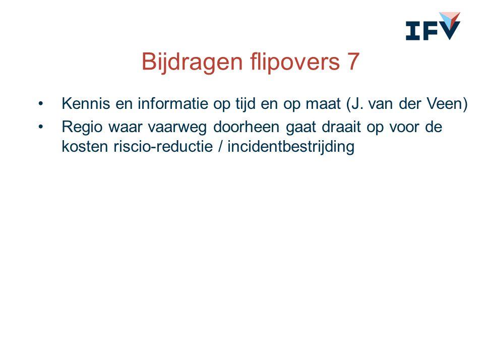 Bijdragen flipovers 7 Kennis en informatie op tijd en op maat (J. van der Veen) Regio waar vaarweg doorheen gaat draait op voor de kosten riscio-reduc