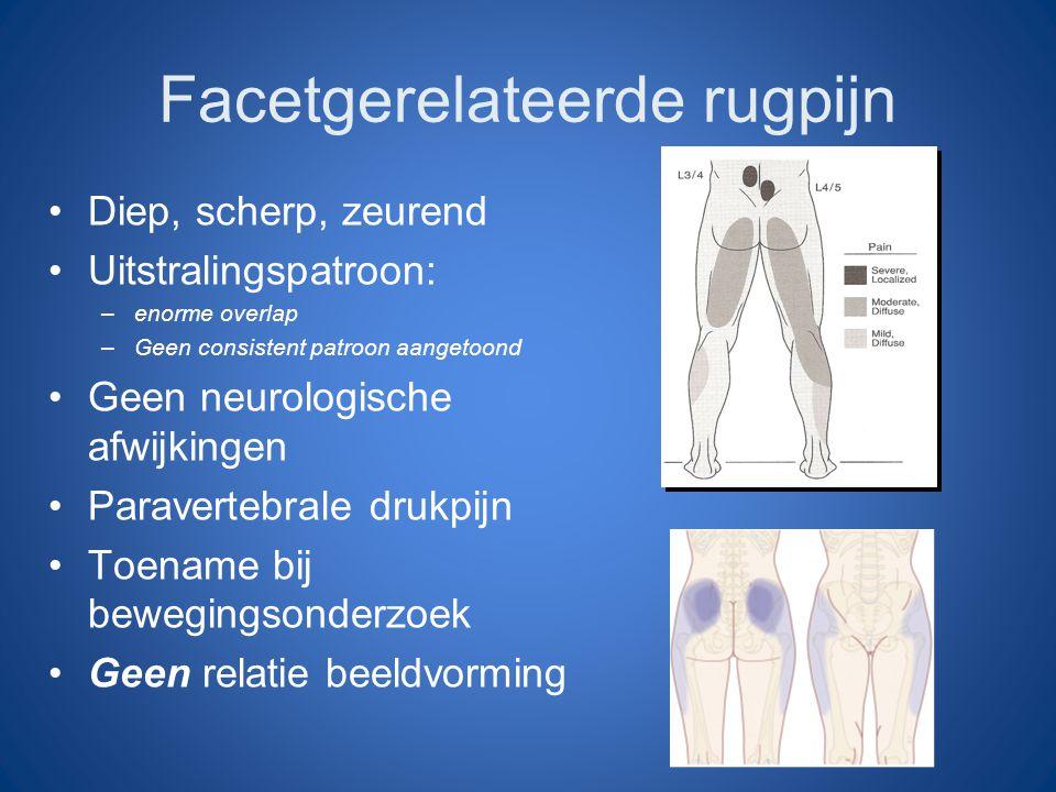 Facetgerelateerde rugpijn Diep, scherp, zeurend Uitstralingspatroon: –enorme overlap –Geen consistent patroon aangetoond Geen neurologische afwijkinge